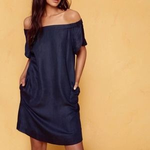Cuyana Blue Off The Shoulder Dress S Linen Blend